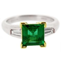 emerald green things | Square Emerald Ring