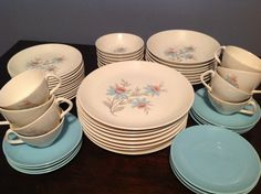 Steubenville Fairlane - 56 Piece Dish Set Steubenville Pottery Company–Fairlane Pattern–Made in U.S.A.- Light Pink and Aqua Dish Set - 1950s...