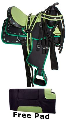 This is a beautiful, premium horse synthetic saddle with green conchos. The saddle is extremely lightweight (15 pounds) and will be perfect for any rider looking for a good lightweight saddle. Because the saddle is waterproof it is a breeze to clean up. All you have to do is wipe it down with a damp cloth. No need for going through messy and long processes of oiling your saddle just to keep it in good condition. The saddle has a nylon bind around the corners making it tear proof. ONLY…