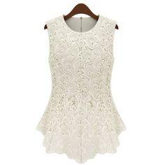 Plus tamaño de las mujeres elegantes de la joya del cuello de encaje sin mangas de la blusa para Vender - La Tienda En Online IGOGO.ES
