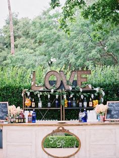clever use of trendy marquee letters to emphasize bar back