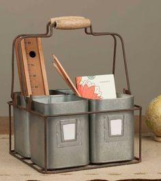 Clearance Sale! Four Tin Organizer With Handles from In The New House Designs Market