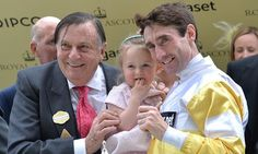 Barry Humphries presents the trophy for the Commonwealth Cup to Dougie Costello and his daughter at Royal Ascot. Dougie was a jump jockey and has now started with the flat and a win at Royal Ascot. A great performance.