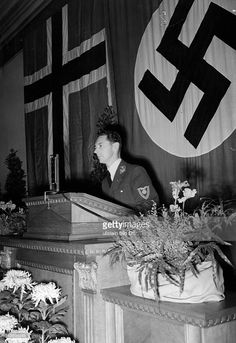Norwegian Fascist Gulbrand Lunde, the Minister of Culture and Public Enlightenment for the Reichskommissariat Fascist puppet government of German-occupied Norway, gives a presentation in the German External Scientific Institute in Berlin. His topic regards the future of Norway and its position in a German-ruled Europe, following the ultimate victory of the Reich in the War. October 15th, 1941.