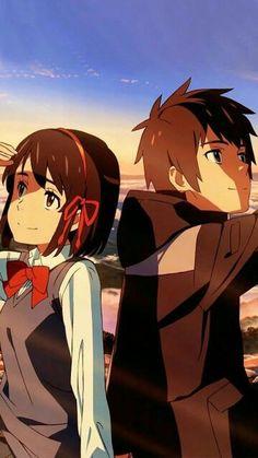 Mitsuha and Taki Otaku Anime, Manga Anime, Film Manga, Anime Films, Anime Backgrounds Wallpapers, Animes Wallpapers, Cute Wallpapers, Mitsuha And Taki, Kimi No Na Wa Wallpaper