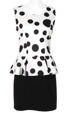 White Black Polka Dot Ruffles Blouse With Skirt