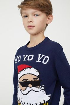 Fine-knit sweater in a cotton blend with a printed motif at front. Ribbing at neckline, cuffs, and hem. Boy Models, Child Models, Cheap Kids Clothes Online, Kids Clothing, Boys Shirts, Boy Fashion, Fashion Children, Cute Boys, Boy Outfits