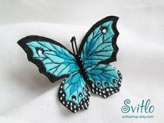 Brooch Butterfly Light Blue  Felt Brooch  Hand by SvitLoShop
