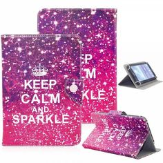 """UNIVERSAL 8"""" TABLET FLIP PU LEATHER FOLIO CASE STAND COVER PINK (KEEP CALM"""