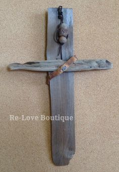 """The Old Rugged Cross"" is lovingly made from discarded wood and broken jewelry.  It is a reminder that Jesus died for our sins when we were discarded and broken.  Each piece of jewelry had been reclaimed and is ""Fit for a KING"".  A beautiful piece of discarded wood, complete with clay beads o..."
