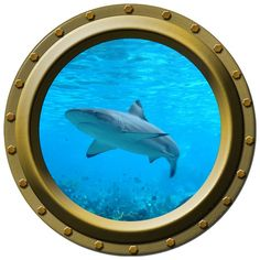Shark Design 2 Porthole Vinyl Wall Decal by WilsonGraphics on Etsy, $13.00