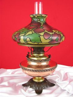 Antique Bradley Hubbard B&H Victorian Oil Lamp Tiffany Stained Glass Shade #Victorian #BradleyHubbard