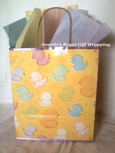 Backside of Eco Friendly~ Recycled Brown Paper Handcrafted Little Duckies Gift Bag w/fabric bow..:o)