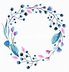 Watercolor flower wreath vector floral frame - by Elmiko on VectorStock®