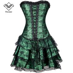 Steampunk Dress Modeling Corset With Skirt Waist Corset Dress Overbust Shapewear Bustier Gothic Clothing Burlesque Corselet
