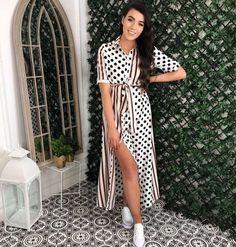 Rae White Spot and Stripe Maxi Shirt Dress Pretty Summer Dresses, Summer Dresses For Women, Cute Dresses, Maxi Shirt Dress, Cute Wedding Dress, Striped Maxi, Virgo, Cool Outfits, Short Sleeve Dresses