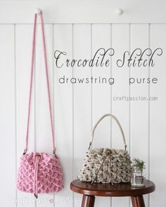 crochet pattern crocodile stitch drawstring purse