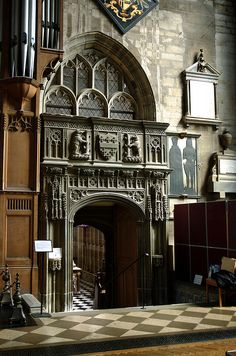 Entry to the Beauchamp chapel, St. Mary's Collegiate Church, Warwick, Warwickshire.