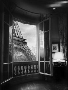 black and white, eiffel tower, europe, paris, photography, window
