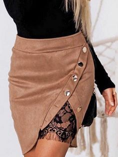Khaki Faux Suede Split Front Lace Lining Mini Skirt