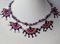 """""""OYA"""" Needle lace and amethyst necklace"""