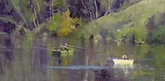 Fishing on the Lake by Toni Danchik Oil ~ 8 x 16