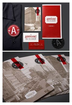 Loving the branding for The Arrogant Butcher -- design identity Graphic Design Branding, Corporate Design, Identity Design, Graphic Design Art, Flyer Design, Typography Design, Logo Branding, Print Design, Logo Design