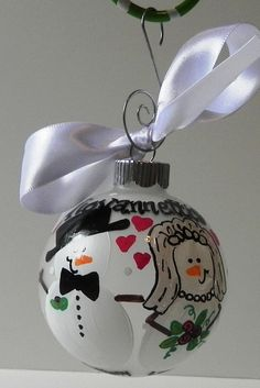 Hand Painted Christmas Ornament - Snow People Wedding