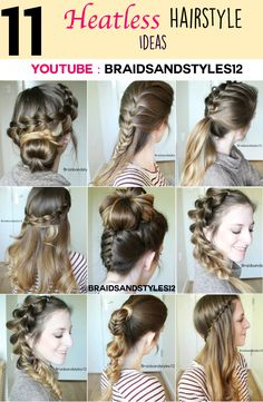 11 pretty Heatless Hairstyles to try out by Braidsandstyles12. Click here for a tutorial! : https://www.youtube.com/watch?v=JQKgQsxyfis
