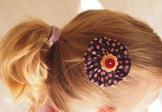 Hair clip: fabric and button - small flowers and by MagpieSailor, $6.50