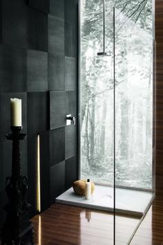 Tropikalny prysznic, przeszklony prysznic, nowoczesna łazienka, łazienka styl azjatycki. Zobacz więcej na: https://www.homify.pl/katalogi-inspiracji/14790/pomysly-na-piekna-lazienke