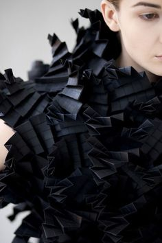 Black Texture Architectural Fashion - paper dress with complex folded structure and textures - origami fashion; Paper Fashion, Origami Fashion, 3d Fashion, Fashion Mode, Dark Fashion, Fashion Details, Fashion Dolls, Origami Mode, Moda Origami