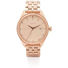 Nixon The Minx Watch ($355) ❤ liked on Polyvore featuring jewelry, watches, accessories, bracelets, relojes, rose gold, rose gold jewelry, red gold jewelry, nixon jewelry and rose gold watches