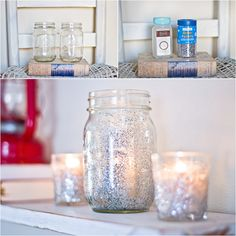 Glitter candle holders use big silver glitter on top rims and put inside a glass so at night it shimmers
