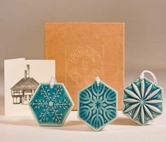2012 Snowflake Ornament Set  Pewabic Pottery Detroit