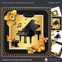 For Music Lovers Piano Mini Kit on Craftsuprint designed by Isabel Neves - For Music Lovers Piano Mini Kit...4 Sheet Mini Kit Includes: Card Front, Card Inserts, Topper Decoupage, Decoupage Pieces, Sentiment Tag, Mini Print
