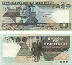 Portugal - 5000 escudos – António Sérgio Entrada em circulação: 15-02-1996 Retirada de circulação: 28-02-2002
