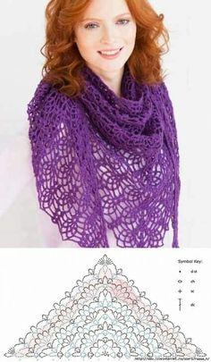 How to Crochet a HeadbandPretty lace shawl and pattern Crochet Shawl Diagram, Crochet Chart, Crochet Lace, Crochet Stitches, Crochet Shawls And Wraps, Crochet Scarves, Crochet Clothes, Crocheted Scarf, Poncho Knitting Patterns