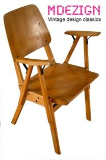 http://www.mdezign.info  Theater stoelen attr. Roland Rainer    Design: Roland Rainer    Manufacturer:    Design year: 1950's    Color: Beech & Plywood