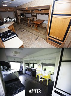 Before and after RV renovation