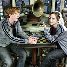 "Behind the scenes of Emma Watson and Rupert Grint on Deathly Hallows  ""After me and Rupert had finished filming our scenes, since most of the scenes in this film have me and Rupert together, we spent a good amount of time playing wizarding chess, and even though he won't admit it, I won almost every time."" Emma Watson"