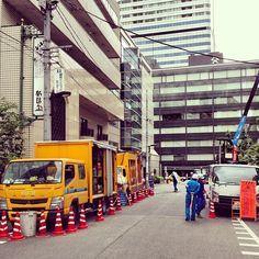 Roadworks in Hirakawacho, Chiyoda ward, Tokyo