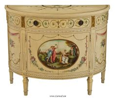 Hand-Painted Classical Scene Cream Demi Lune Commode Cabinet via http://www.carrocel.com/product/1119.aspx