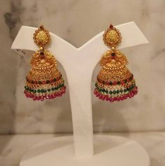 Silver used for this jewellery is pure. You can buy this silver jewellery at My Orchids Boutique Gold Jhumka Earrings, Jewelry Design Earrings, Gold Earrings Designs, Gold Jewellery Design, Gold Designs, Jhumka Designs, Fancy Jewellery, Antique Earrings, Bridal Jewellery