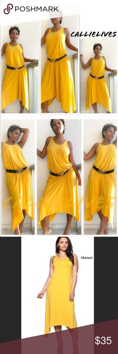 """Mustard Plus Size Dress ⬇️ $35 Hi-Lo Yellow Gold Plus Size Tank Dress w asymmetric hem 92% Polyester 8% Spandex. I'm 5'6"""" 145lbs in the XL.   2XL Bust 18"""" waist 20"""" hips 24"""" length 48-55""""  3XL Bust 19.5"""" waist 21"""" hips 26"""" length 49-56""""  300+ Crop tops, jogger sets, catsuits, Mommy & Me, soft, fleece, brushed & Velour leggings, Wow Couture, Angelica Val, Giuseppe, Balenciaga, Louis Vuitton, Prada, Moschino, BCBG, Analili, sunglasses, clutches, yoga workout gear, Cocktail & club, ripped…"""