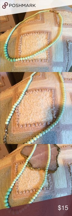 💎new arrival Shades of mint necklace Chec beads in light to dark mint green to gold beads strung on Sterling silver wire, this has not been worn some of the glass beads have small smudges it is part of the antique process applied on purpose from LE Chat Designs Le Chat Jewelry Necklaces