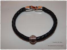 Heren-armband met gevlochten leder
