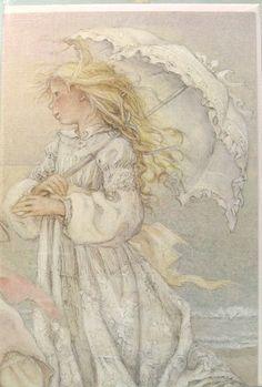 Lisi Martin Girl in White Birthday Card