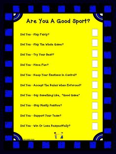 Use this handy checklist to help you students understand the concept of being a good sport and what that means. Laminate this checklist and use a dry erase marker to use the list again and again.
