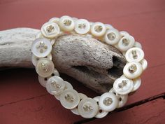 Vintage Button Bracelet Antique Mother of Pearl Jewelry